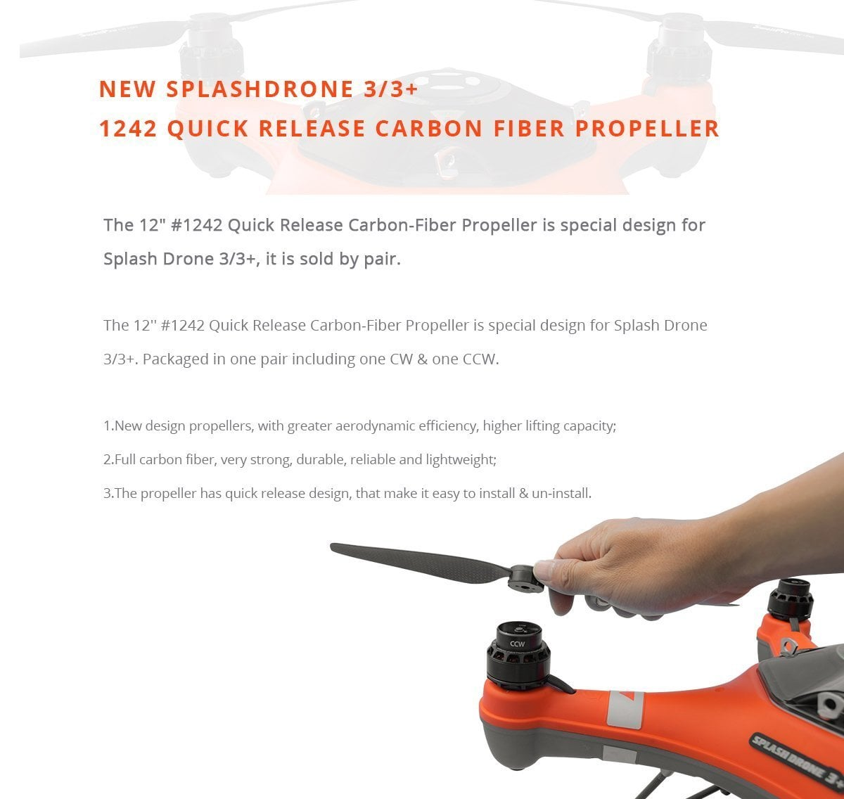 1242 Quick Release Carbon Fiber Propeller – Splash Drone 3+ Brochure