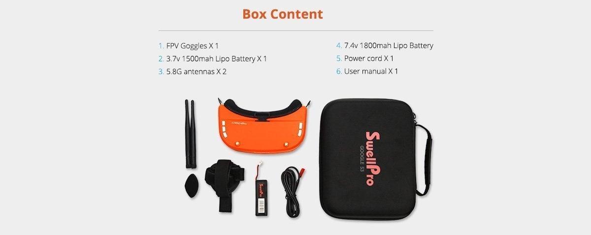 S3 FPV GOGGLES Box Content