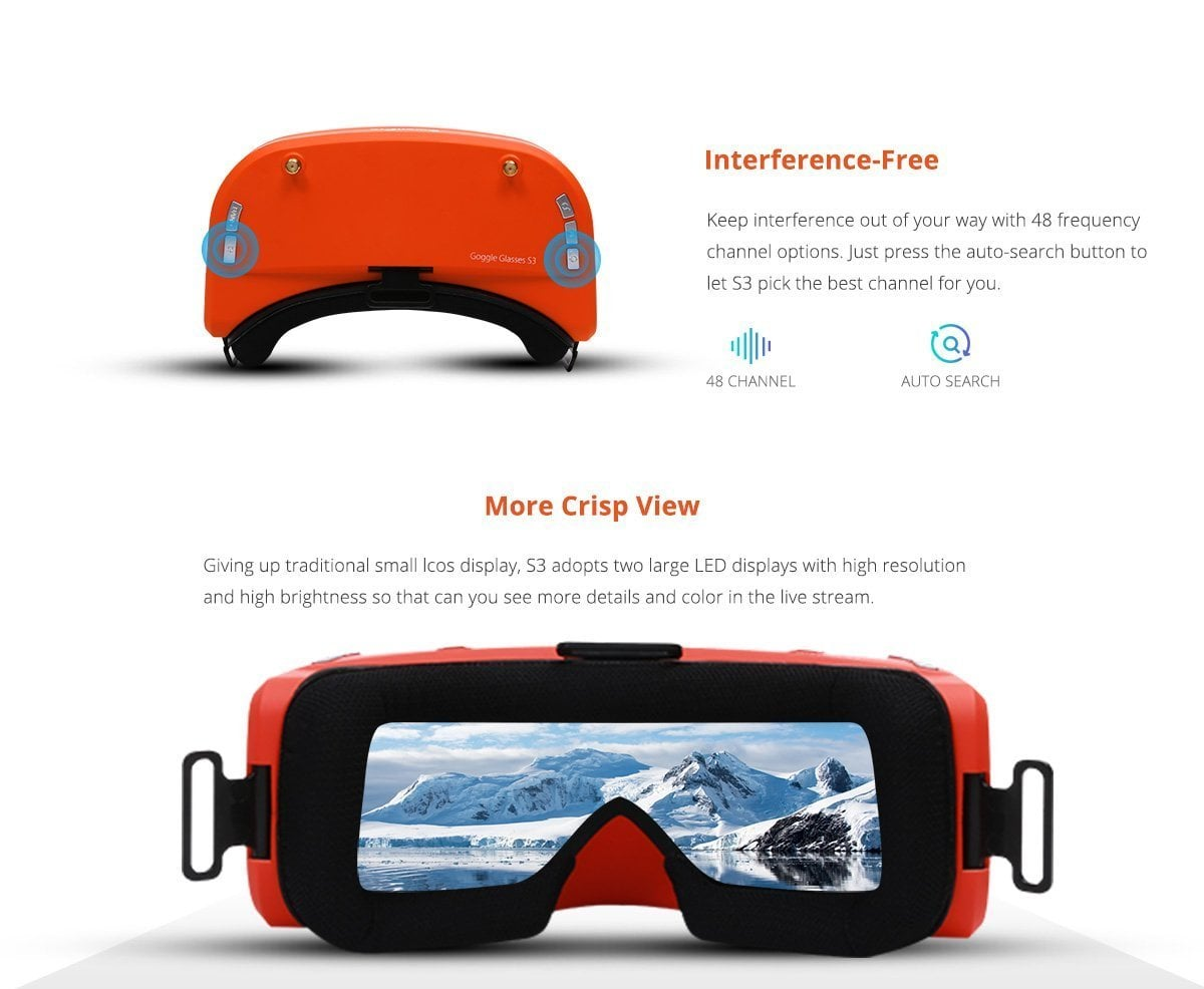 S3 FPV GOGGLES High Definition Display